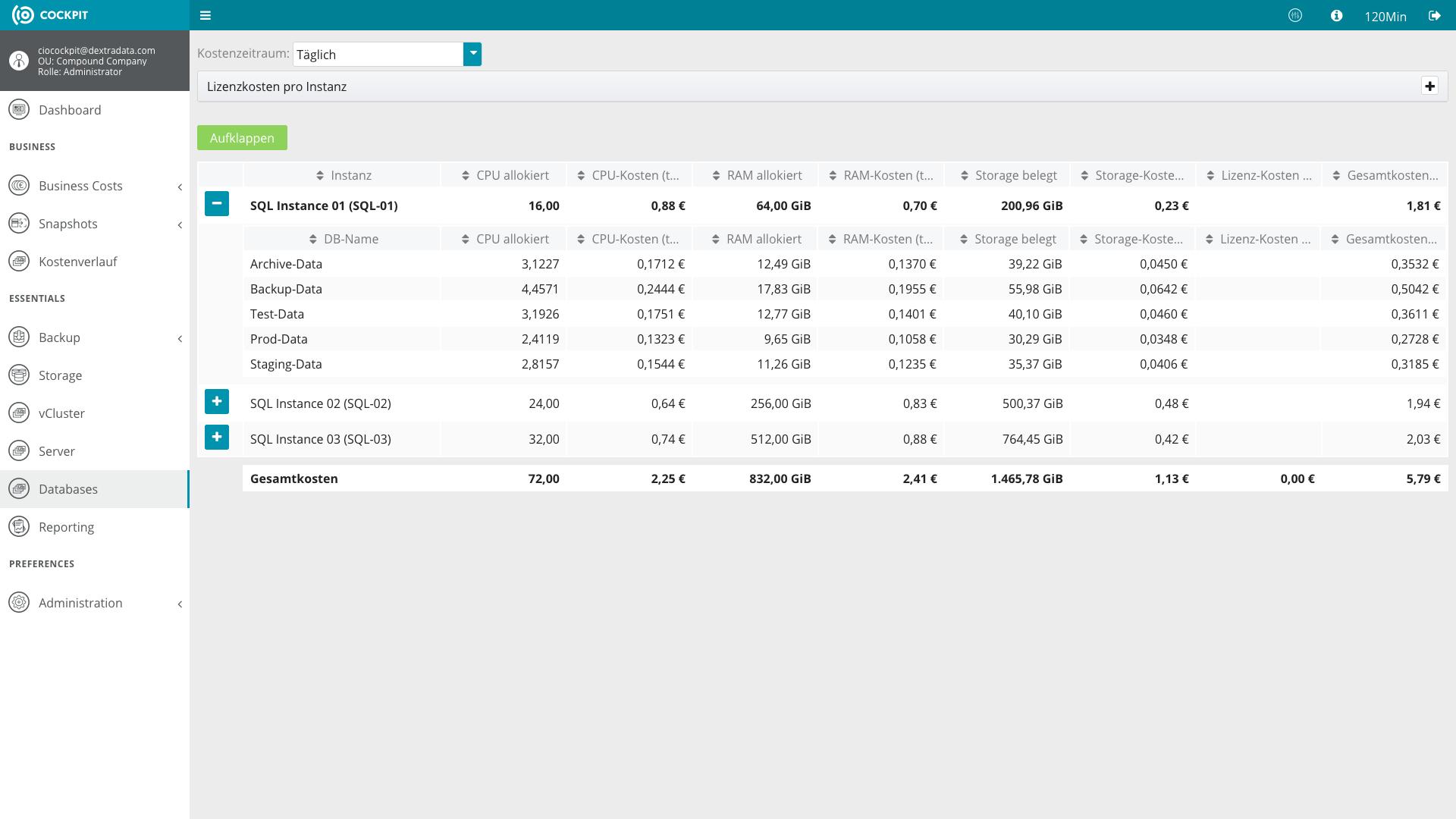 Erfassung von Datenbank-Kosten im CIO Cockpit