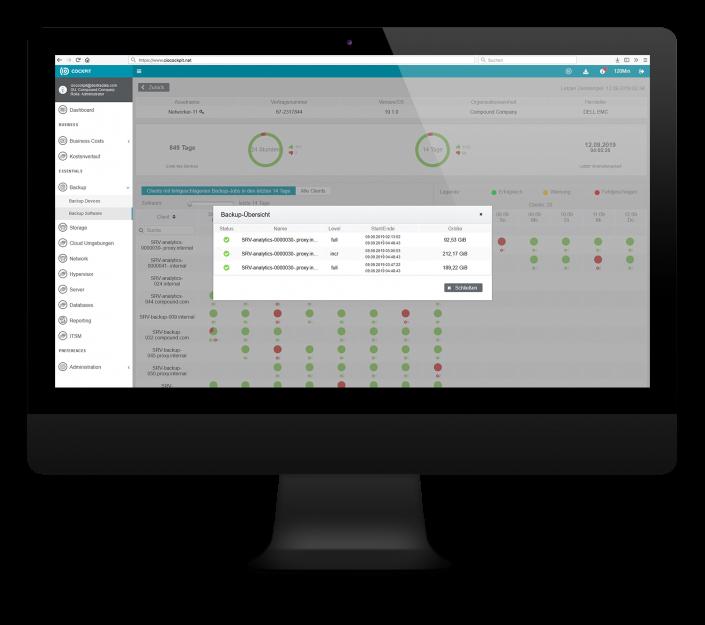 CIO Cockpit Essentials – Details zu Ihrer Backup-Software: Laufzeit und -typ des Backups und seiner Gesamtgröße