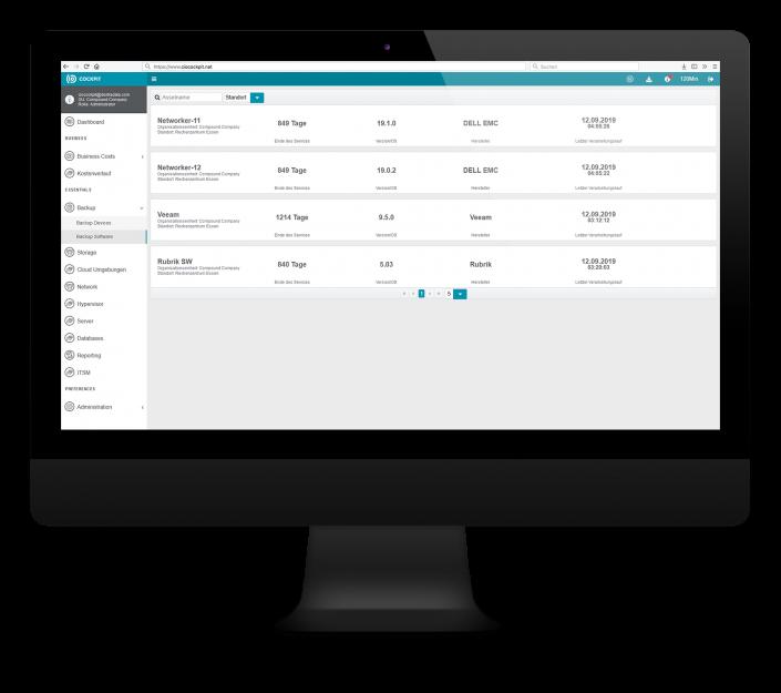 CIO Cockpit Essentials – Ihre eingesetzten Backup-Software Produkte im Überblick